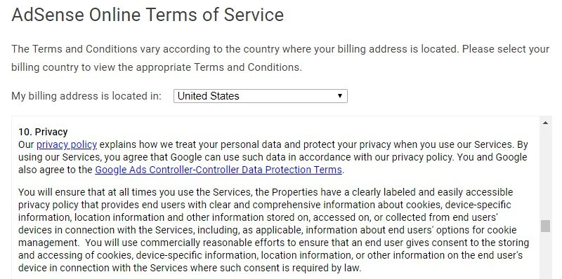 Google AdSense Online Terms of Service: Privacy clause