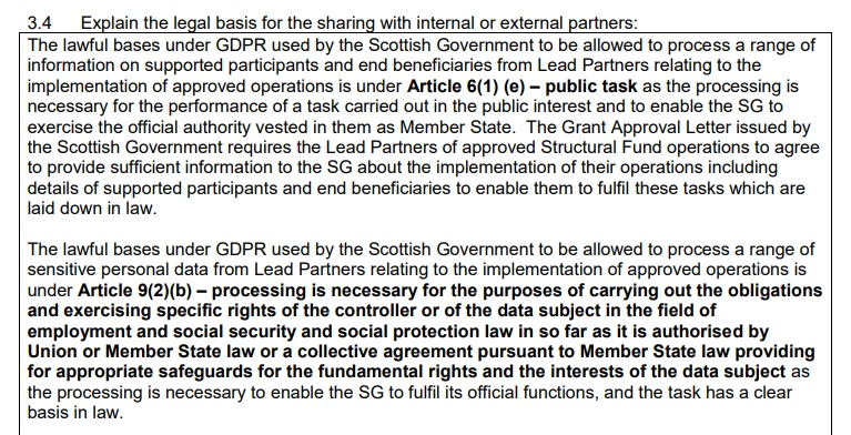 Scottish Government DPIA: Excerpt of legal basis for sharing with partners section