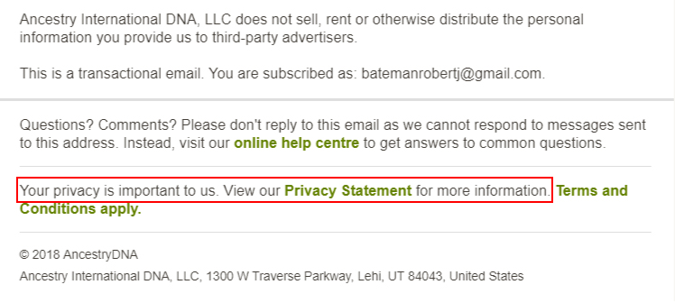 Ancestry DNA email footer with Privacy Statement highlighted