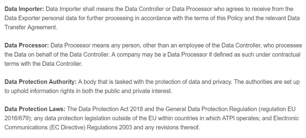 ATPI Data Protection Policy: Excerpt of glossary clause