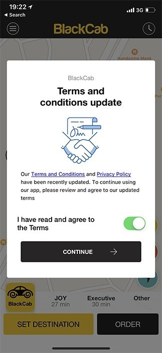 BlackCab mobile: Terms and Conditions update with toggle button to agree