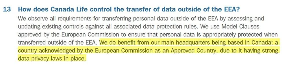 Canada Life UK: GDPR FAQs -International data transfer clause highlighted