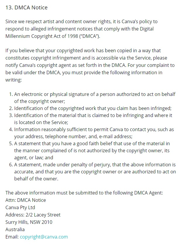 Canva Terms of Use: DMCA Notice clause