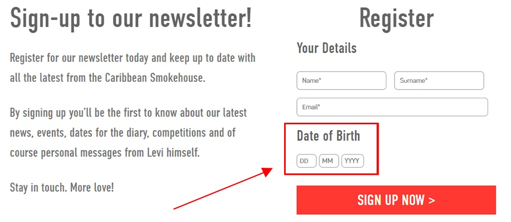 Caribbean Smokehouse Sign-up and Register form with dat of birth highlighted