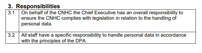 CNHC Data Protection Policy: excerpt of Responsibilities clause