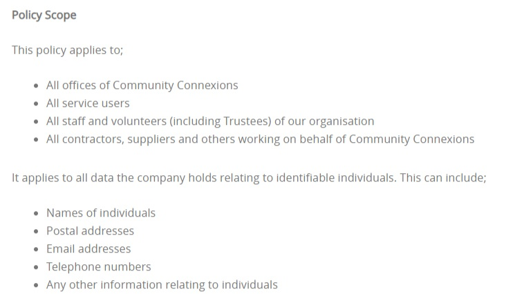 Community Connexions Data Protection Policy: Scope clause