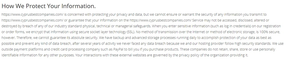 Cyprus Best Companies GDPR Compliance Statement: How Ee Protect Your Information clause