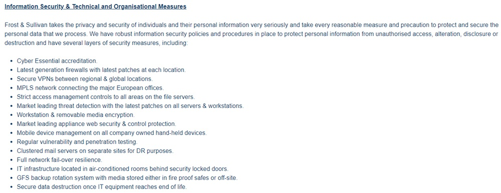 Frost and Sullivan GDPR Compliance Statement: Information Security and Technical and Organisational Measures clause