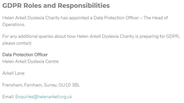 Helen Arkell GDPR Compliance Statement: GDPR Roles and Responsibilities clause