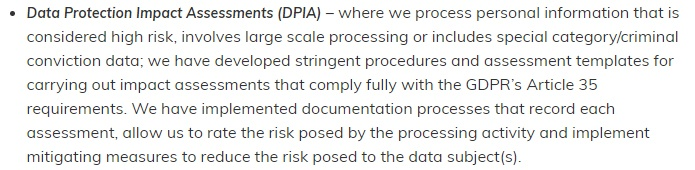 Helpjuice GDPR Compliance Statement: DPIA clause