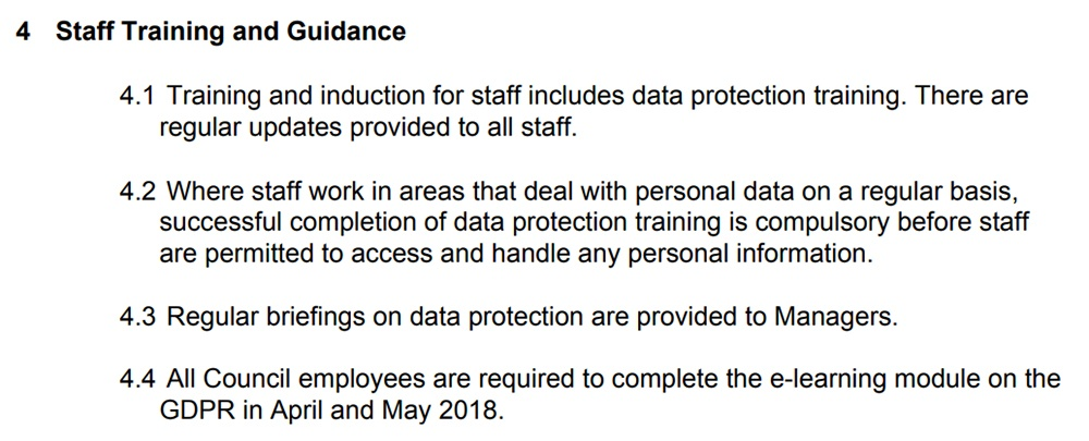 Hillingdon London Borough Council Data Protection Policy: Staff Training and Guidance clause