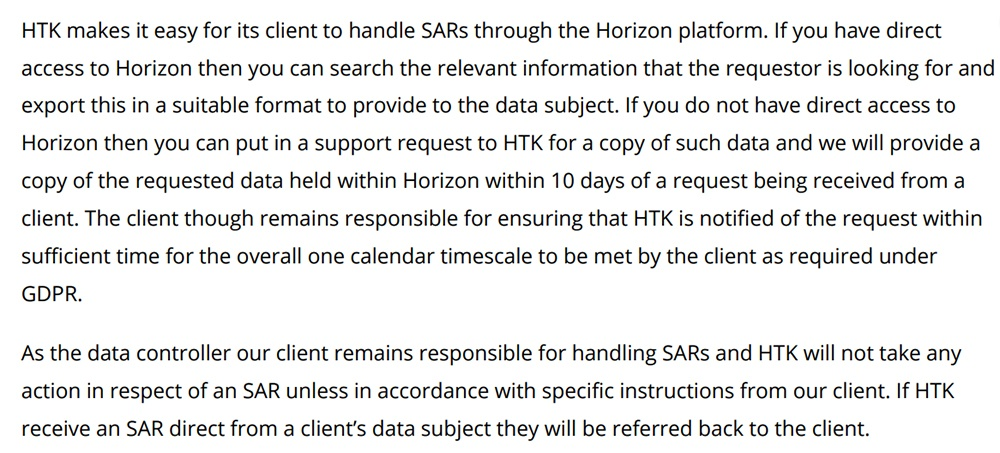 HTK GDPR Compliance Statement: Subject Access Requests clause excerpt