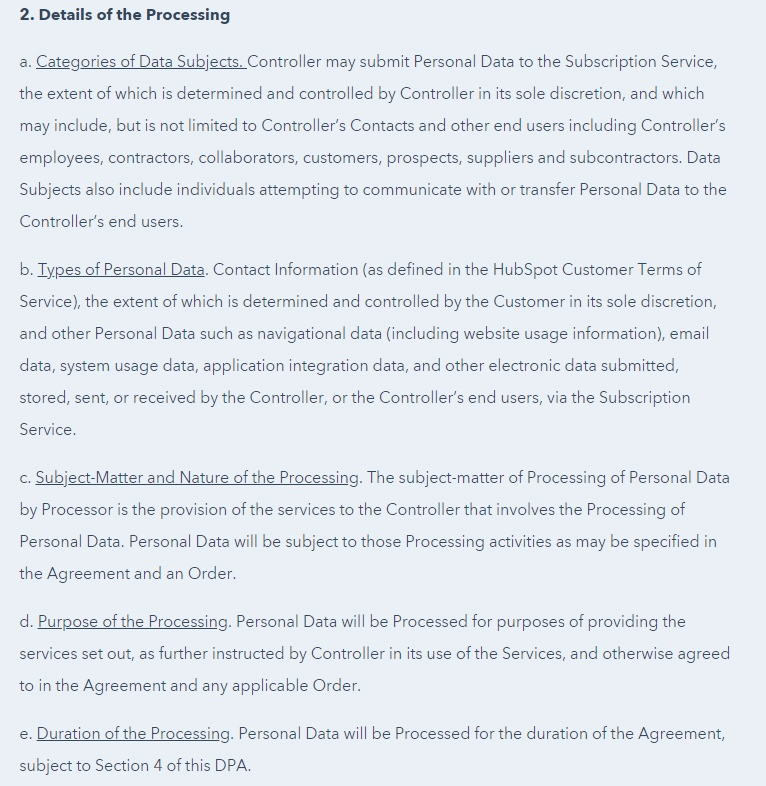 HubSpot Data Processing Agreement Details of Processing clause