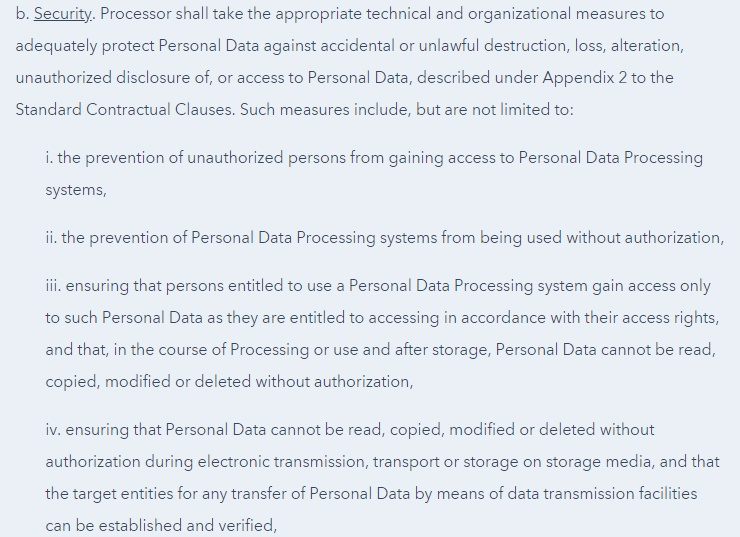 HubSpot Data Processing Agreement Security clause