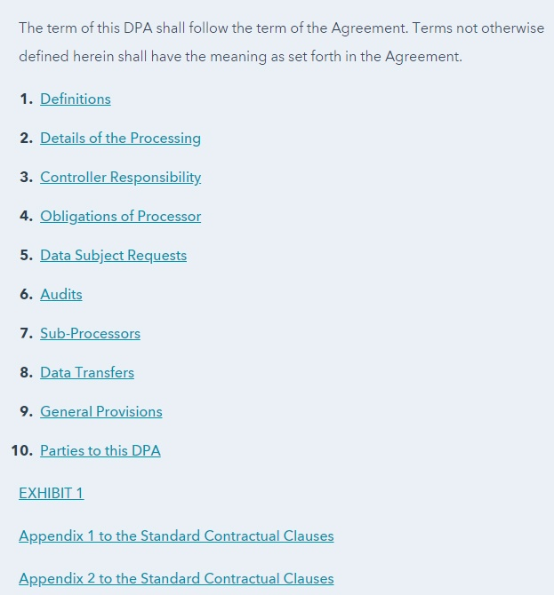 HubSpot Data Processing Agreement Table of Contents section