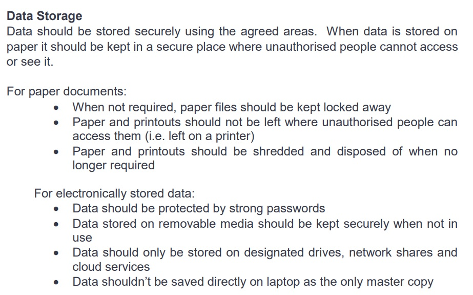 iSAMS Data Protection Policy: Data Storage clause