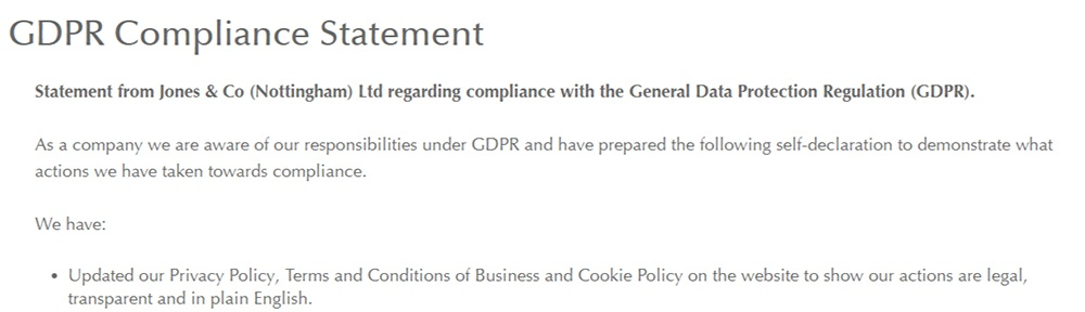 Jones Buttons GDPR Compliance Statement: Excerpt about updated policies