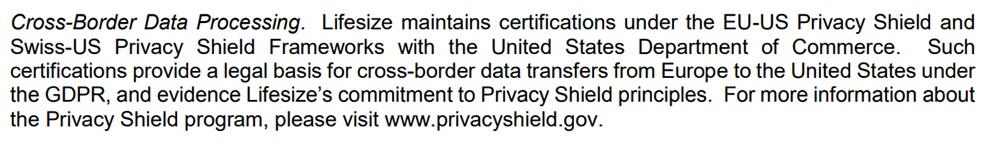 Lifesize GDPR Compliance Statement: Cross-Border Data Processing clause