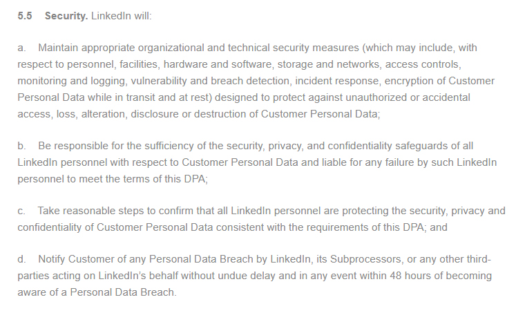 LinkedIn Data Processing Agreement Security clause