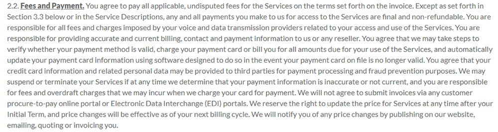 LogMeIn Terms of Service: Fees and Payments clause