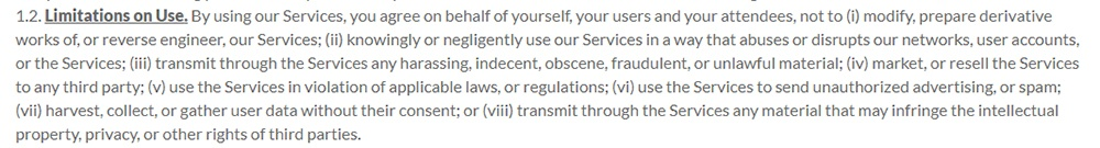 LogMeIn Terms of Service: Limitations on Use clause