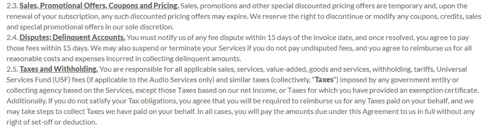 LogMeIn Terms of Service: Orders, Fees and Payments clause excerpt