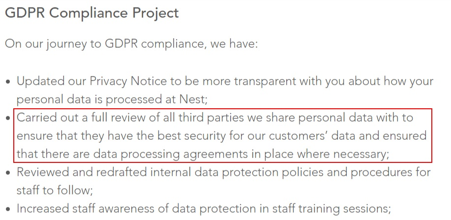 Nest GDPR Compliance Statement: Third-party review section highlighted