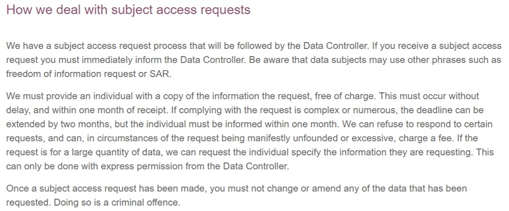 Orchard Oak Recruitment Data Protection Policy: Subject Access Requests clause