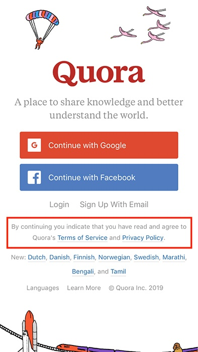 Quora mobile Log-in page with Agree to Terms and Privacy highlighted