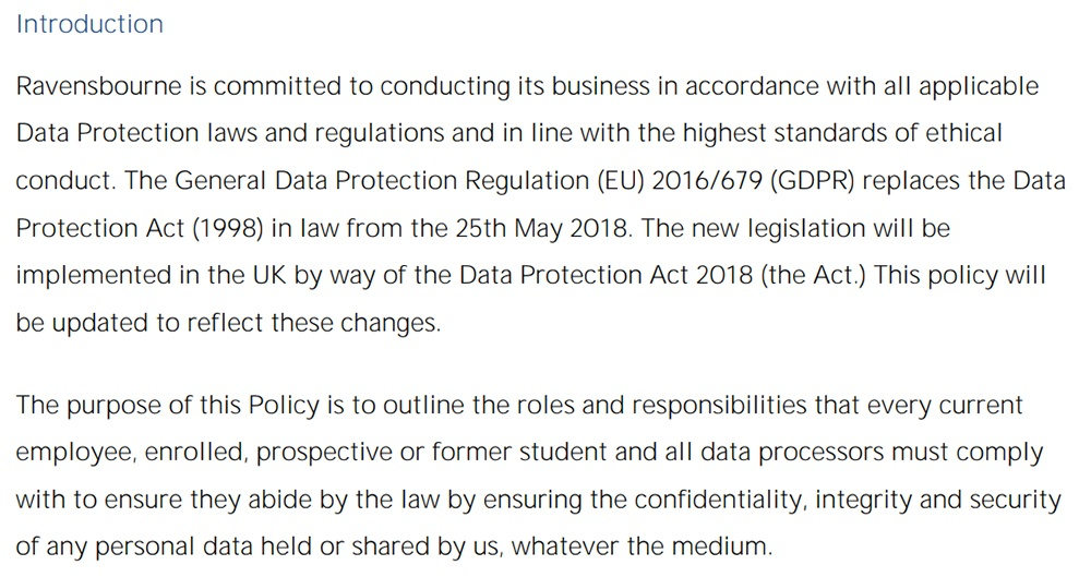 Ravensbourne University Data Protection Policy: Introductio clause