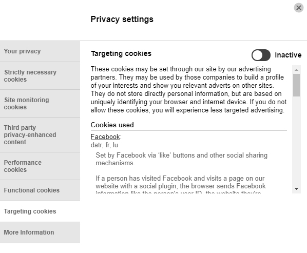 University of Brighton Cookies Consent notice Settings screen