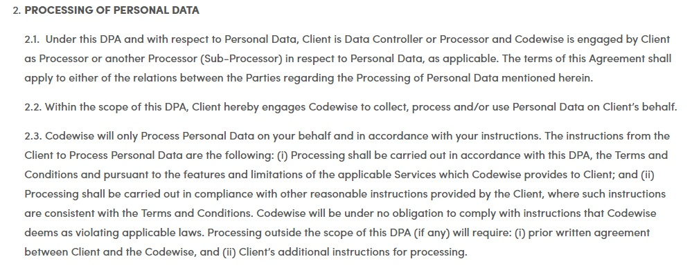 VoluumDSP DPA -  Processing of Personal Data clause excerpt