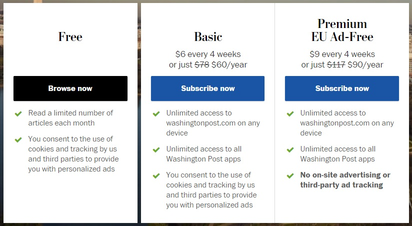 Washington Post Subscribe options with pre-checked consen