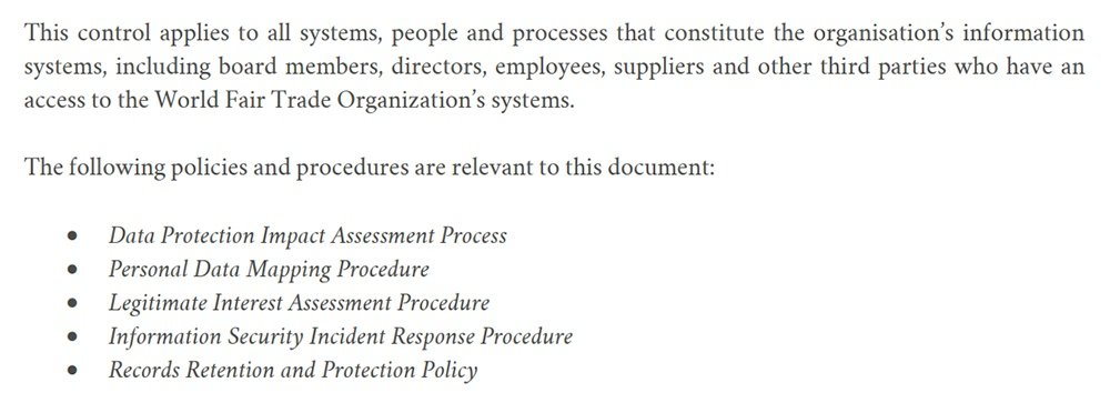 World Fair Trade Organization Data Protection Policy: Other applicable policies clause