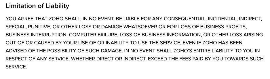 Zoho Terms of Service: Limitation of Liability clause excerpt