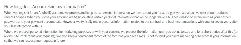 Adobe Privacy Policy: Data retention clause