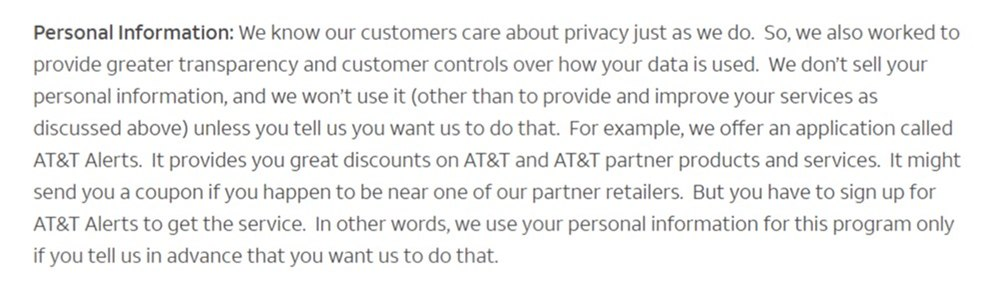 ATT Privacy Policy: Personal Information clause