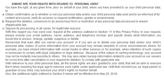 BabyTV Privacy Policy: What are Your Rights With Regard to Personal Data clause