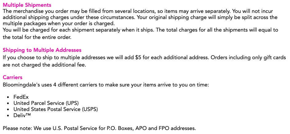 143700b51c1 Bloomingdale s Shipping Information  Multiple shipments