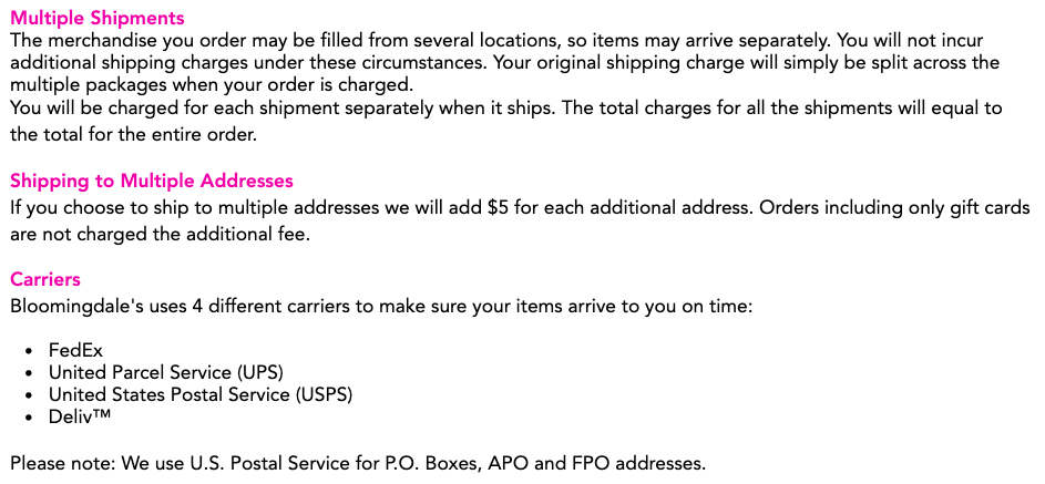Bloomingdale's Shipping Information: Multiple shipments, multiple addresses and carriers sections