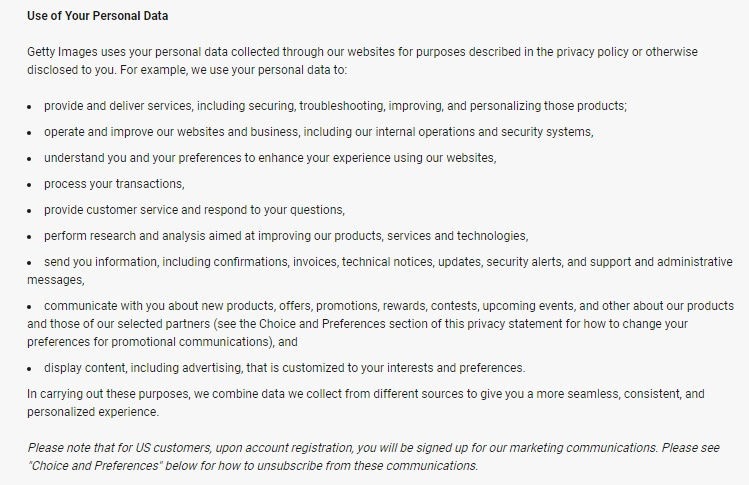 Getty Images Privacy Policy: Use of Your Personal Data clause