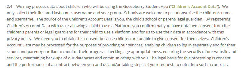 Gooseberry Planet Privacy Policy: Children's Account Data clause
