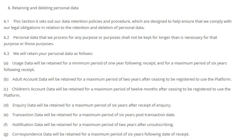 Gooseberry Planet Privacy Policy: Retaining and Deleting Personal Data clause