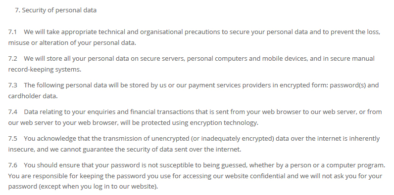 Gooseberry Planet Privacy Policy: Security of Personal Data clause