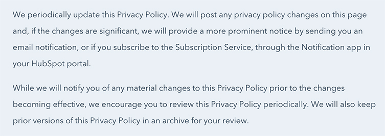 HubSpot Privacy Policy: Updates to Policy clause