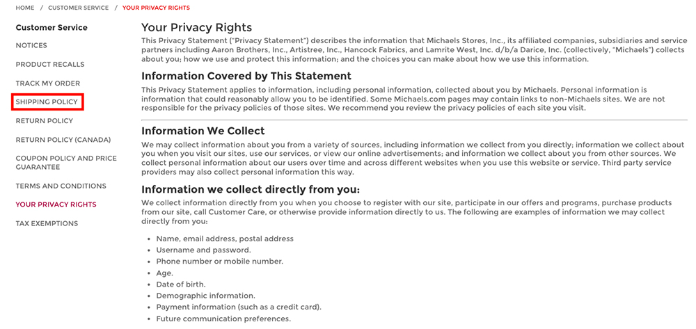 Michaels Privacy Rights page with Shipping Policy link highlighted