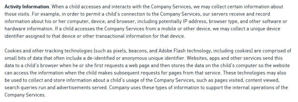 National Geographic Kids Privacy Policy: Activity Information clause