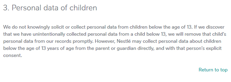 Nestle Privacy Policy: Personal Data of Children clause