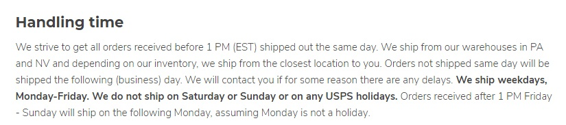 Planet of the Vapes Shipping Policy: Handling Time section