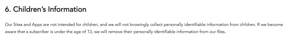 Shutterfly Privacy Policy: Children's Information clause